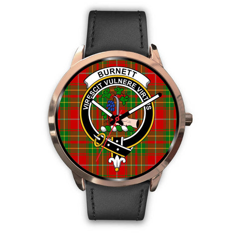Image of Burnett Ancient Clan Badge Tartan Leather/Steel Watch - Rose Gold - BN04