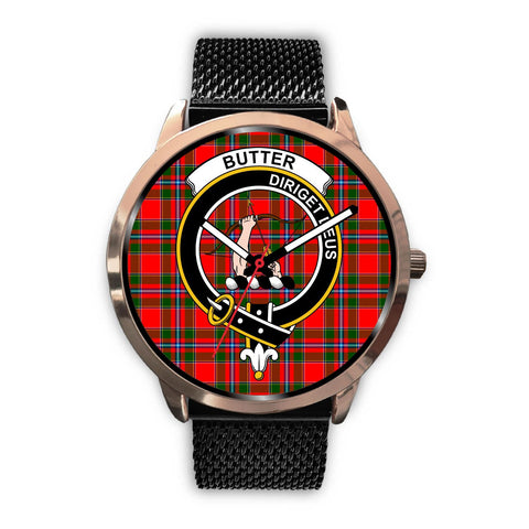 Image of Butter Clan Badge Tartan Leather/Steel Watch - Rose Gold - BN04