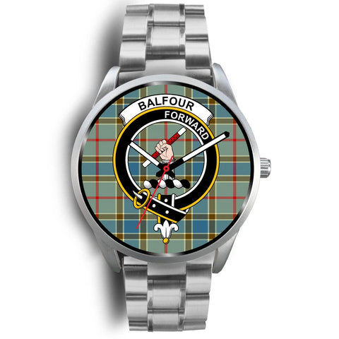 Balfour Blue Clan Badge Tartan Leather/Steel Watch - Silver