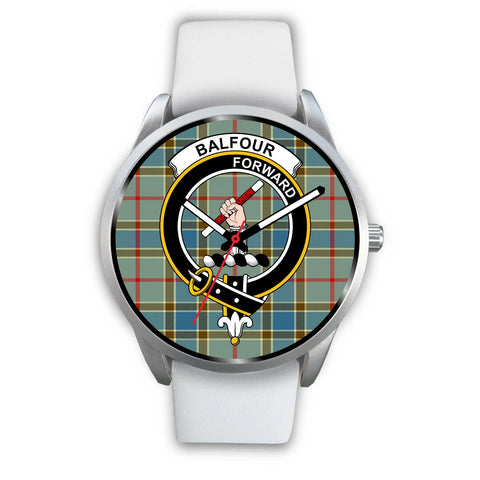 Balfour Blue Clan Badge Tartan Leather/Steel Watch - Silver - Bn08