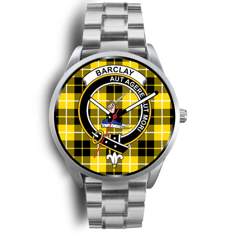 Barclay Dress Modern Clan Badge Tartan Leather/Steel Watch - Silver