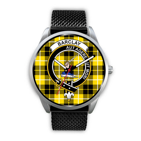 Barclay Dress Modern Clan Badge Tartan Leather/Steel Watch - Silver - Bn08
