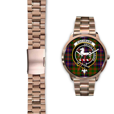 Cochrane Modern Clan Badge Tartan Leather/Steel Watch - Rose Gold - BN04