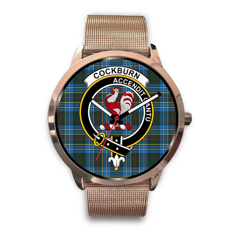 Cockburn Modern Clan Badge Tartan Leather/Steel Watch - Rose Gold - BN04