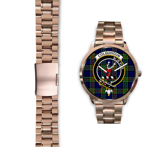Colquhoun Modern Clan Badge Tartan Leather/Steel Watch - Rose Gold - BN04