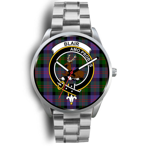 Blair Modern Clan Badge Tartan Leather/Steel Watch - Silver