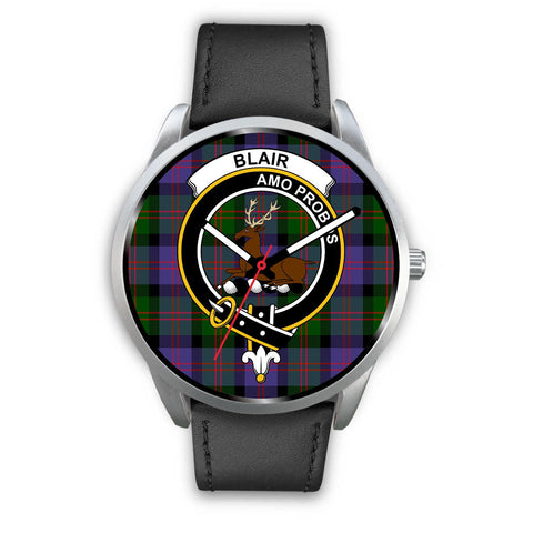 Blair Modern Clan Badge Tartan Leather/Steel Watch - Silver - Bn08
