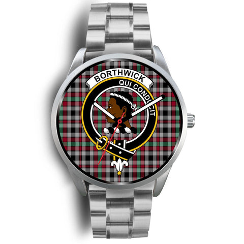 Image of Borthwick Ancient Clan Badge Tartan Leather/Steel Watch - Silver