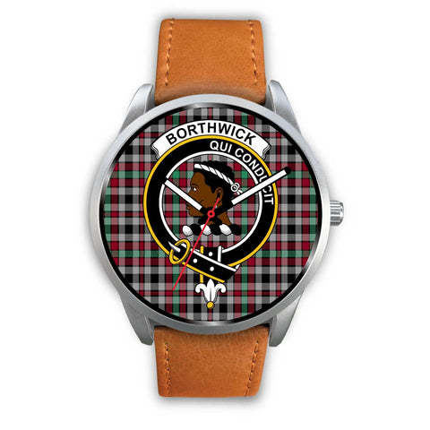 Borthwick Ancient Clan Badge Tartan Leather/Steel Watch - Silver - Bn08