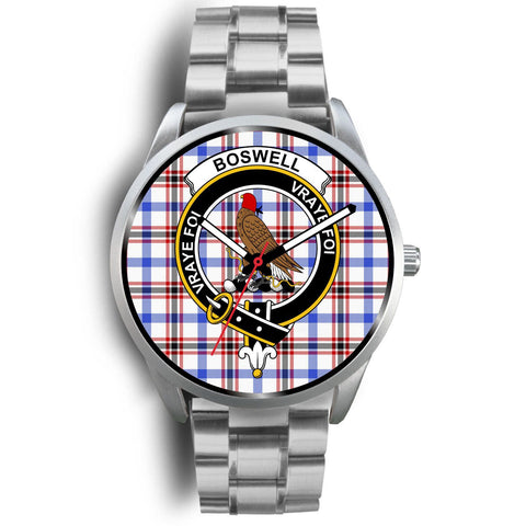 Boswell Modern Clan Badge Tartan Leather/Steel Watch - Silver