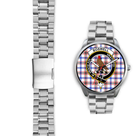 Boswell Modern Clan Badge Tartan Leather/Steel Watch - Silver - Bn08