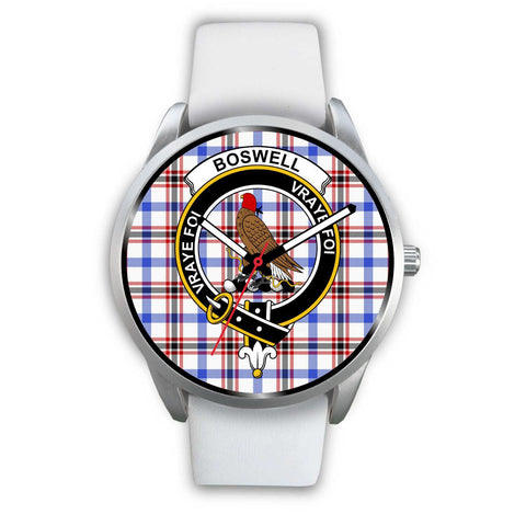 Image of Boswell Modern Clan Badge Tartan Leather/Steel Watch - Silver - Bn08