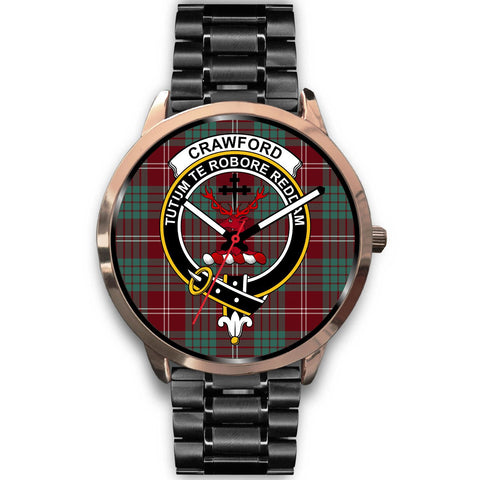 Crawford Modern Clan Badge Tartan Leather/Steel Watch - Rose Gold - BN04