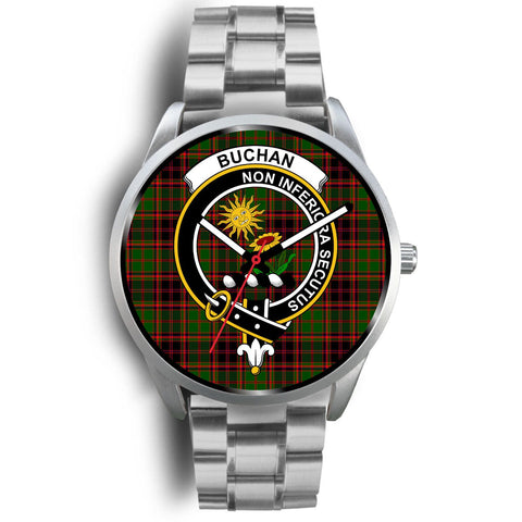 Buchan Modern Clan Badge Tartan Leather/Steel Watch - Silver