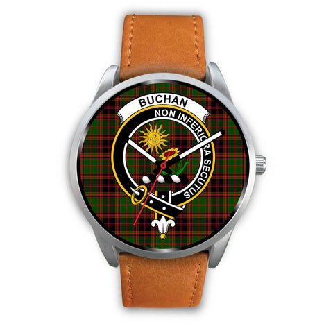 Buchan Modern Clan Badge Tartan Leather/Steel Watch - Silver - Bn08