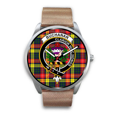 Buchanan Modern Clan Badge Tartan Leather/Steel Watch - Silver - Bn08