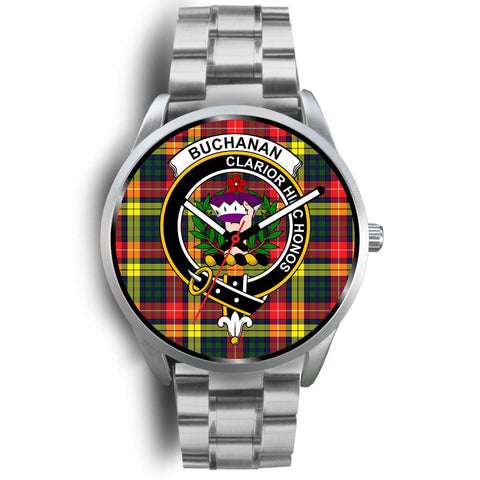 Buchanan Modern Clan Badge Tartan Leather/Steel Watch - Silver
