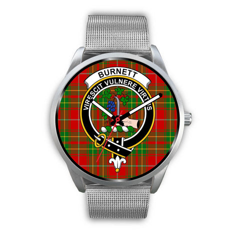Image of Burnett Ancient Clan Badge Tartan Leather/Steel Watch - Silver - Bn08