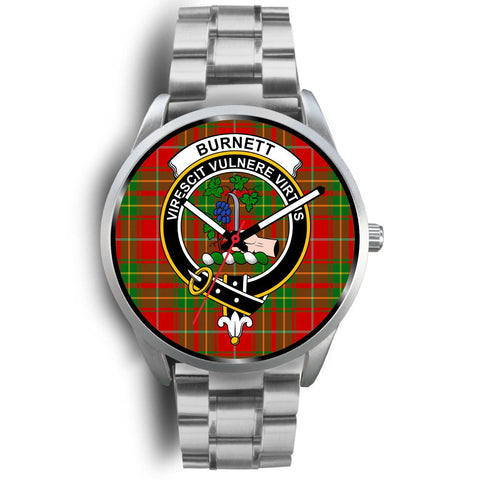 Image of Burnett Ancient Clan Badge Tartan Leather/Steel Watch - Silver