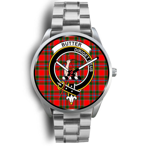 Image of Butter Clan Badge Tartan Leather/Steel Watch - Silver