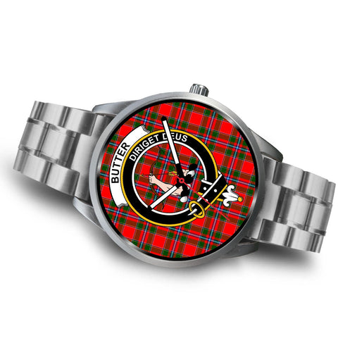 Butter Clan Badge Tartan Leather/Steel Watch - Silver - Bn08