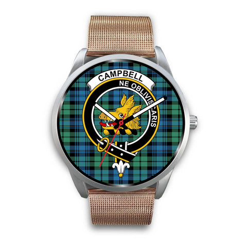 Campbell Ancient 01 Clan Badge Tartan Leather/Steel Watch - Silver - Bn08