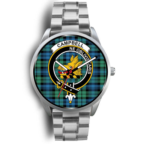 Campbell Ancient 01 Clan Badge Tartan Leather/Steel Watch - Silver