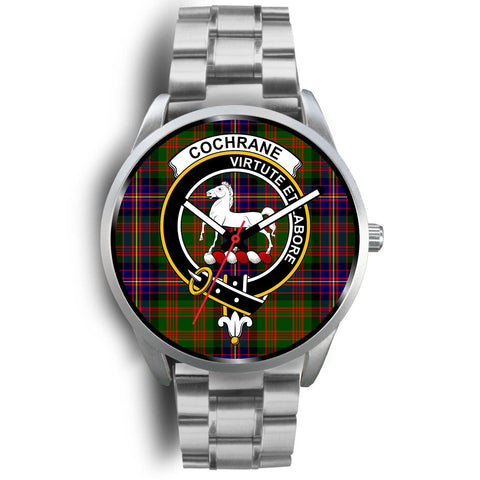 Cochrane Modern Clan Badge Tartan Leather/Steel Watch - Silver
