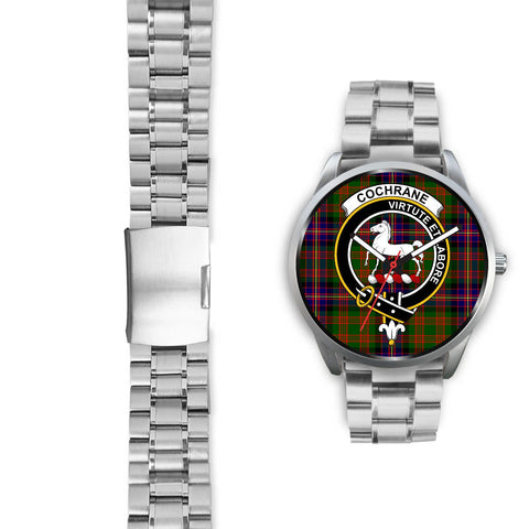 Cochrane Modern Clan Badge Tartan Leather/Steel Watch - Silver - Bn08