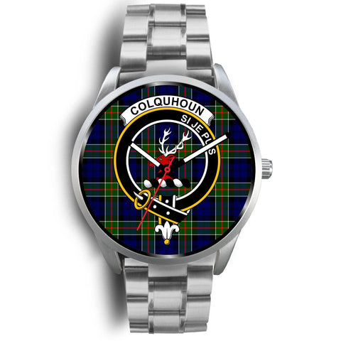 Colquhoun Modern Clan Badge Tartan Leather/Steel Watch - Silver