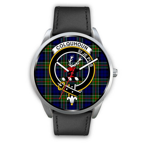 Colquhoun Modern Clan Badge Tartan Leather/Steel Watch - Silver - Bn08