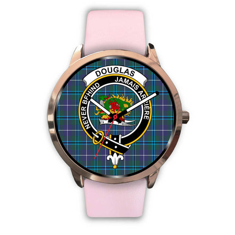 Douglas Modern Clan Badge Tartan Leather/Steel Watch - Rose Gold - BN04