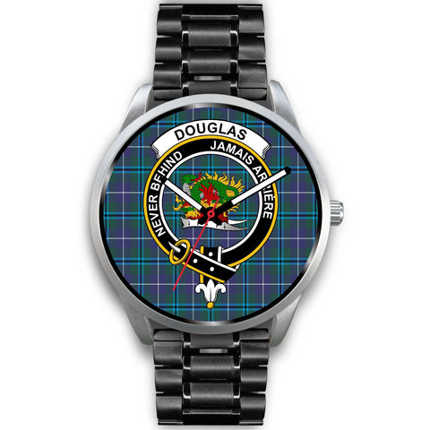 Douglas Modern Clan Badge Tartan Leather/Steel Watch - Silver - Bn08