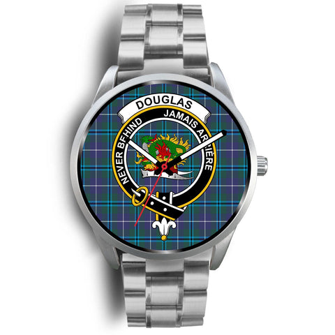 Douglas Modern Clan Badge Tartan Leather/Steel Watch - Silver