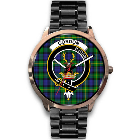 Gordon Modern Clan Badge Tartan Leather/Steel Watch - Rose Gold - BN04