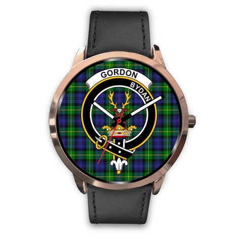 Image of Gordon Modern Clan Badge Tartan Leather/Steel Watch - Rose Gold - BN04
