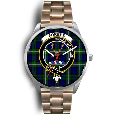 Forbes Modern Clan Badge Tartan Leather/Steel Watch - Silver - Bn08