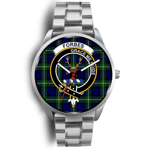 Image of Forbes Modern Clan Badge Tartan Leather/Steel Watch - Silver