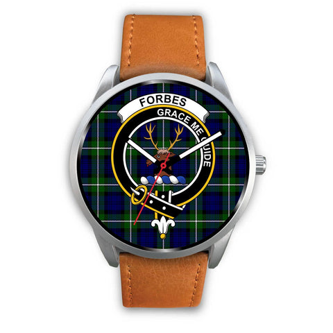 Image of Forbes Modern Clan Badge Tartan Leather/Steel Watch - Silver - Bn08