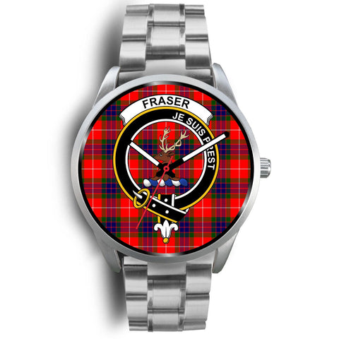 Fraser Modern Clan Badge Tartan Leather/Steel Watch - Silver
