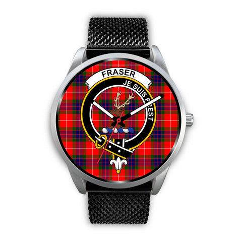 Fraser Modern Clan Badge Tartan Leather/Steel Watch - Silver - Bn08