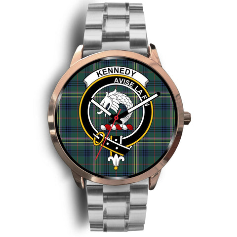 Image of Kennedy Modern Clan Badge Tartan Leather/Steel Watch - Rose Gold - BN04