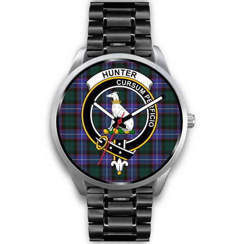 Hunter Modern Clan Badge Tartan Leather/Steel Watch - Silver - Bn08