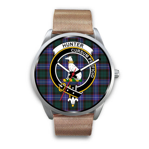 Image of Hunter Modern Clan Badge Tartan Leather/Steel Watch - Silver - Bn08