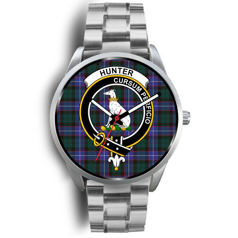 Image of Hunter Modern Clan Badge Tartan Leather/Steel Watch - Silver