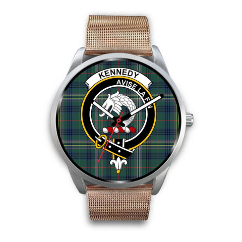 Kennedy Modern Clan Badge Tartan Leather/Steel Watch - Silver - Bn08