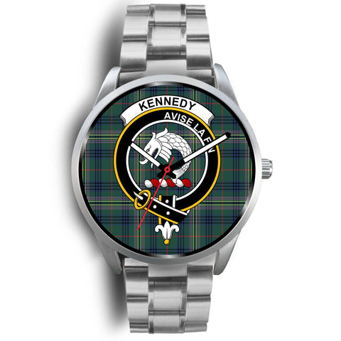 Image of Kennedy Modern Clan Badge Tartan Leather/Steel Watch - Silver