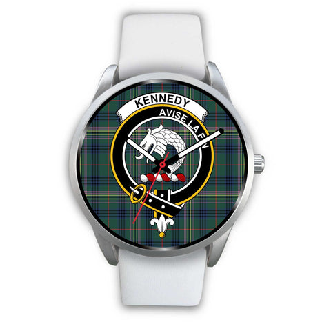 Image of Kennedy Modern Clan Badge Tartan Leather/Steel Watch - Silver - Bn08