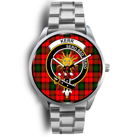 Image of Kerr Modern Clan Badge Tartan Leather/Steel Watch - Silver