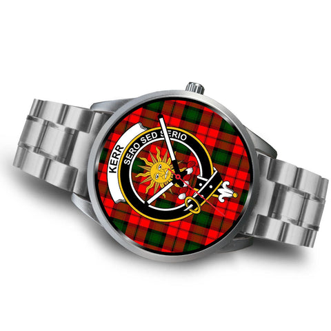 Image of Kerr Modern Clan Badge Tartan Leather/Steel Watch - Silver - Bn08